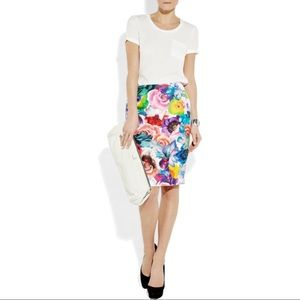 Jil Sander Floral Silk Twill Pencil Skirt